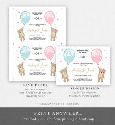 Editable Gender Reveal Invitation Teddy Bear Boy or Girl Blue or Pink He or She Bear Woodland Download Printable Template Corjl 0025