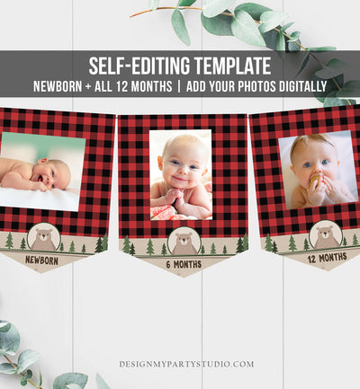 Editable Lumberjack First Birthday Banner Monthly Photo Banner Bear Buffalo Plaid Party Decor Download Printable Template Digital Corjl 0026