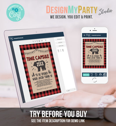 Editable Lumberjack Time Capsule First Birthday Party Game Bear Buffalo Plaid Guestbook Digital Download Corjl Template Printable 0026