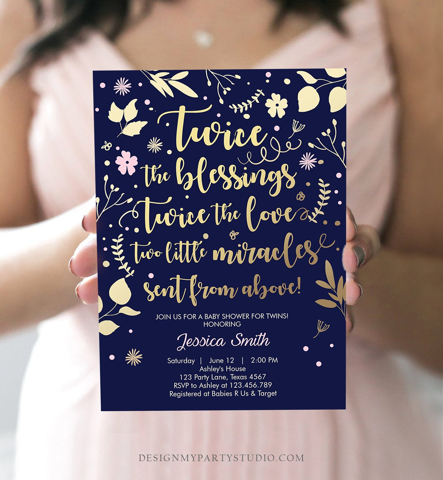 Editable Twin Baby Shower Invitation Twin Girls Gold Pink Blessings Rustic Modern Floral Girls Baby Shower Template Download Corjl 0285