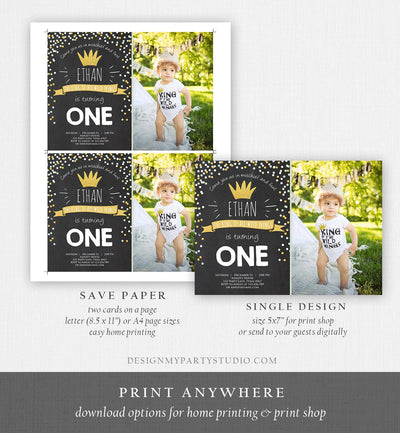 Editable Birthday Invitation Wild One Black Gold Wild Things Boy First Birthday Crown Download Printable Invitation Template Corjl 0099