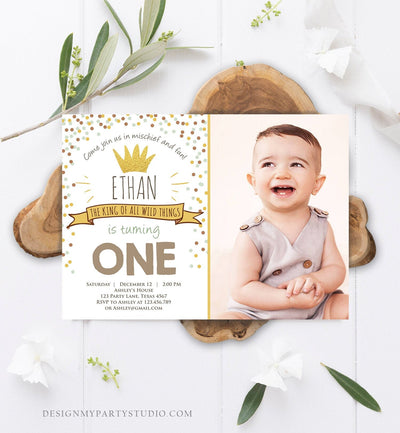 Editable Birthday Invitation Wild One Gold Crown Wild Things Boy First Birthday Instant Download Printable Invitation Template Corjl 0099