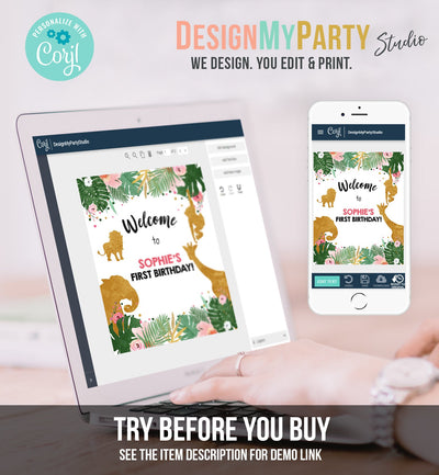 Editable Safari Animals Welcome Sign Wild One Party Animals Sign Zoo Jungle Table Sign Pink Gold Girl Corjl Template Download PRINTABLE 0016