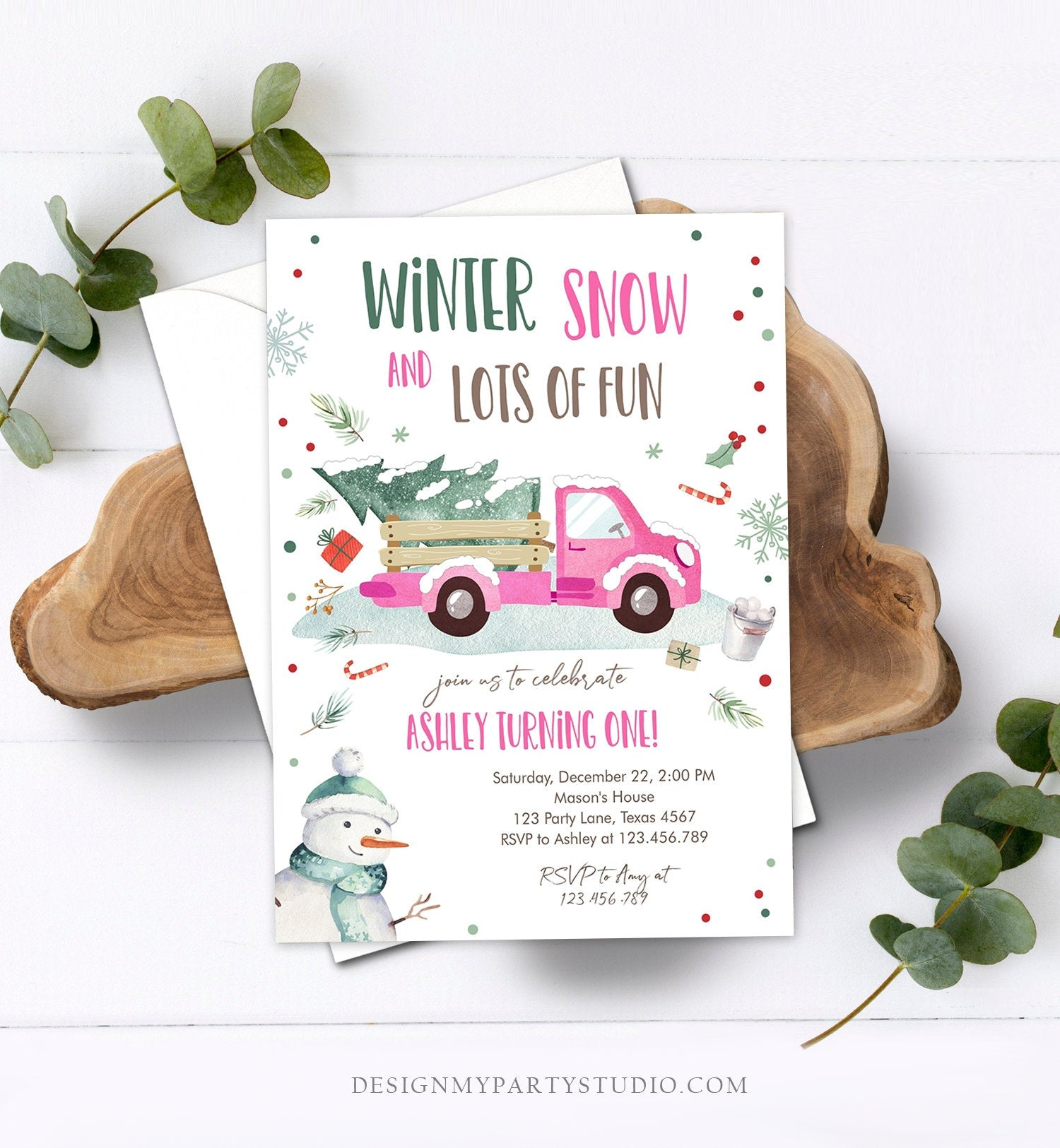 Editable ANY AGE Winter Birthday Invitation Girl Pink Truck Birthday Party Winter Onederland Download Printable Invite Template Corjl 0278