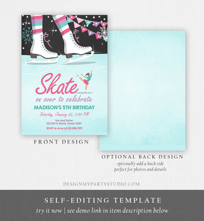 Editable Ice Skating Invitation Ice Skating Birthday Party Girl Pink Mint Skate Party Winter Download Printable Invitation Template Corjl