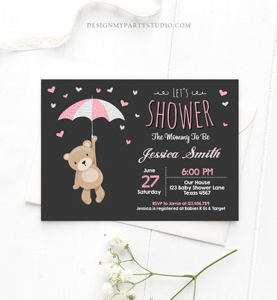 Editable Baby Shower Invitation Teddy Bear Cute Baby Girl Pink Bear Little Cub Woodland Invite Template Instant Download Digital Corjl 0025
