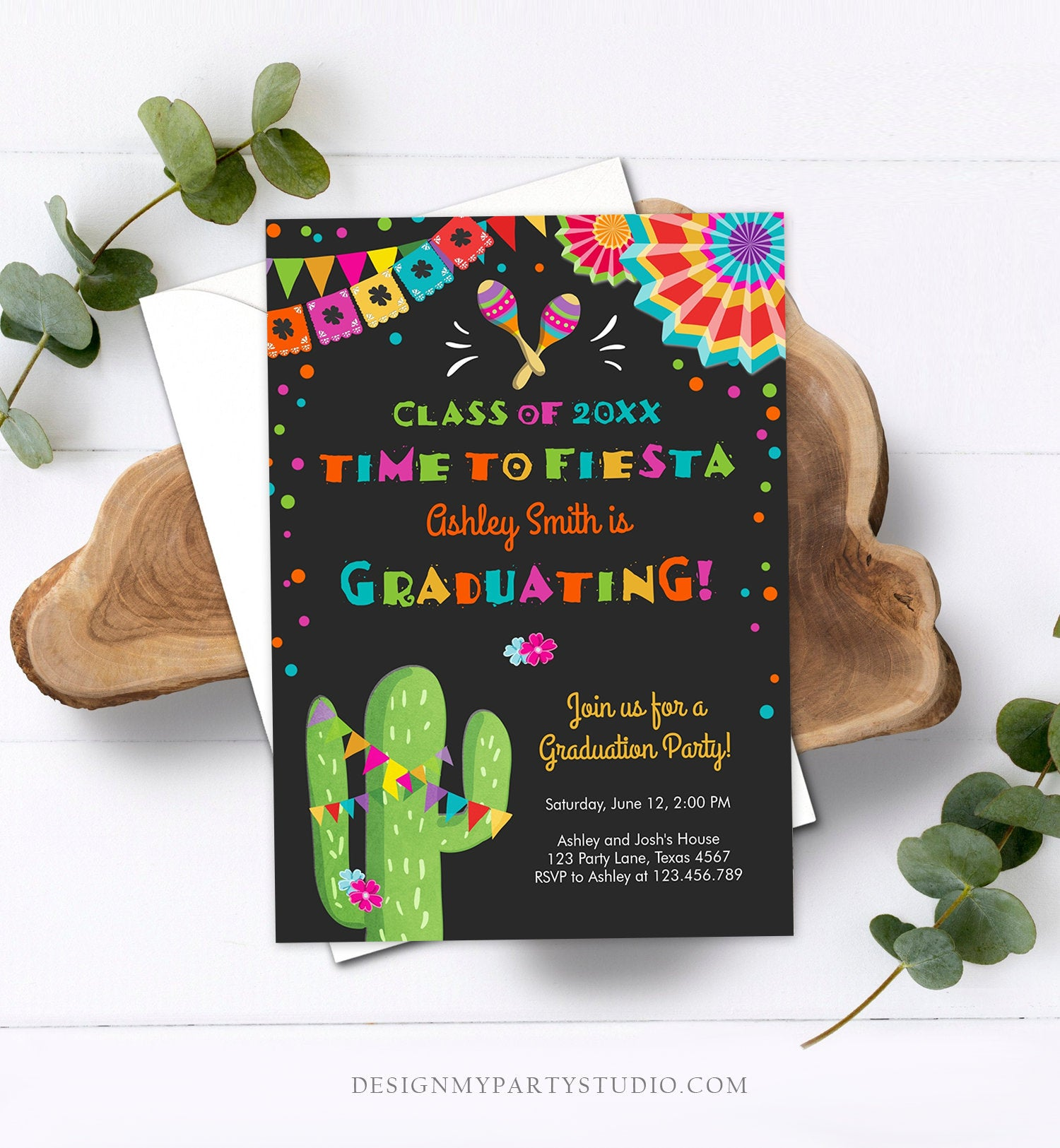 Editable Time to Fiesta Graduation Party Invitation Cactus Let's Fiesta Grad Mexican Graduate Graduating College School Corjl Template 0045