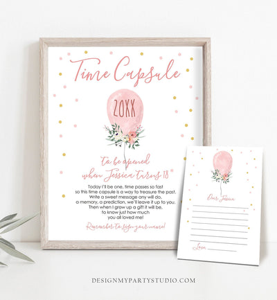 Editable Time Capsule First Birthday Girl Floral Balloon Pink Gold Girl 1st Birthday Guestbook Confetti Template Printable Corjl 0221