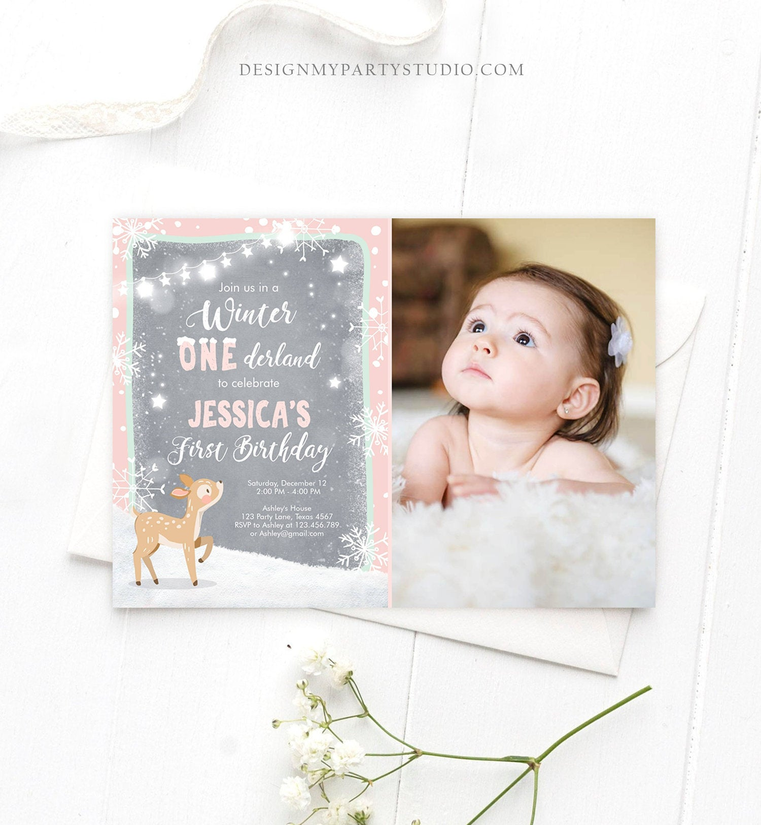 Editable Winter ONEderland Birthday Invitation First Birthday Snowflake Girl Pink Mint Grey Deer Printable Invitation Template Corjl 0109