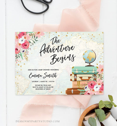 Editable The Adventure Begins Baby Shower Invitation Pink Floral Gold Confetti Suitcases Travel Around World Printable Corjl Template 0030