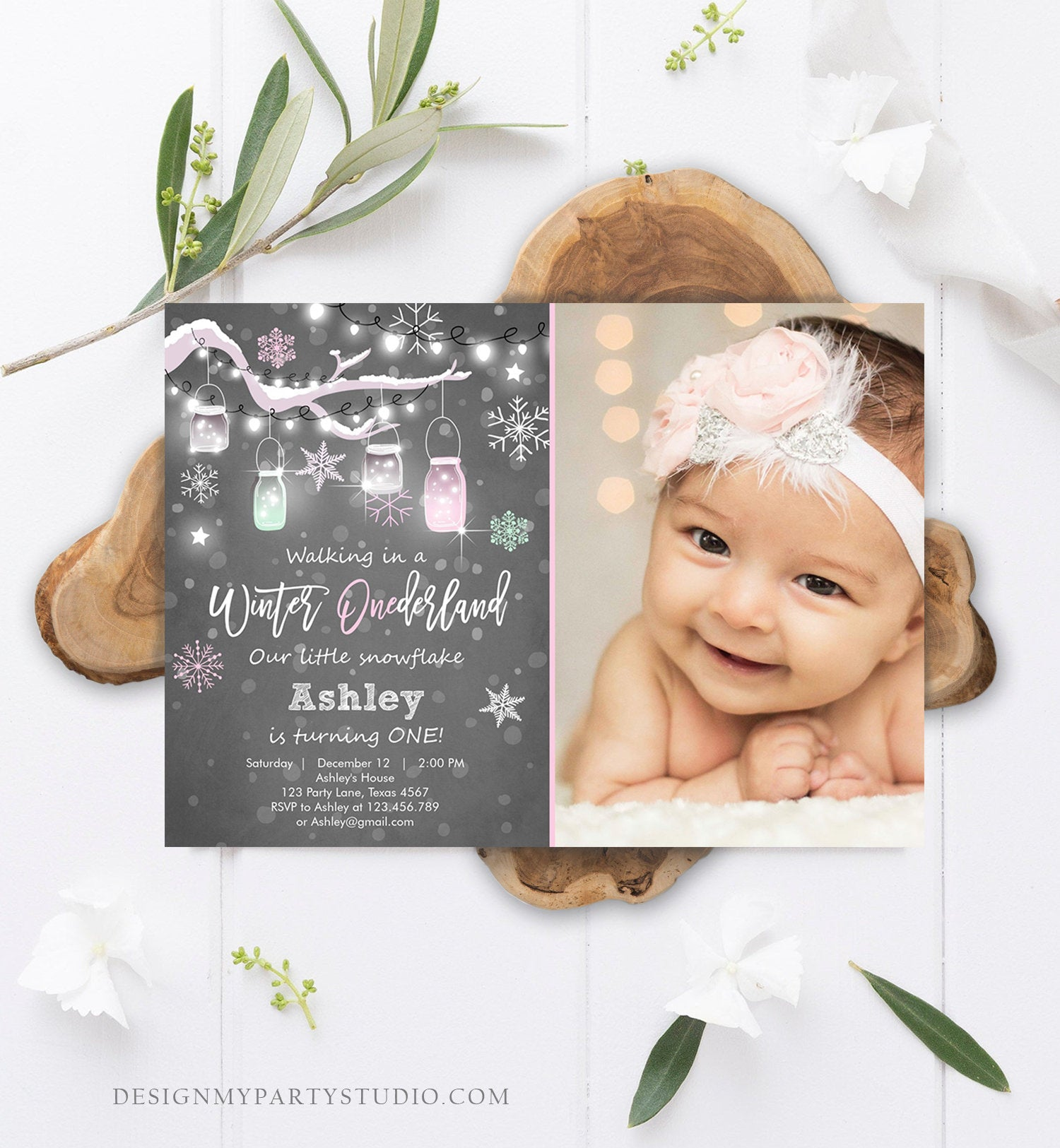 Editable ANY AGE Winter ONEderland Birthday Invitation First Birthday Snowflake Girl Pink Download Printable Invitation Template Corjl 0066