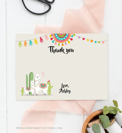 Editable Llama Thank You Card Fiesta Mexican Baby Shower Thank You Note Birthday Cactus Neutral Alpaca Corjl Template Printable 0079