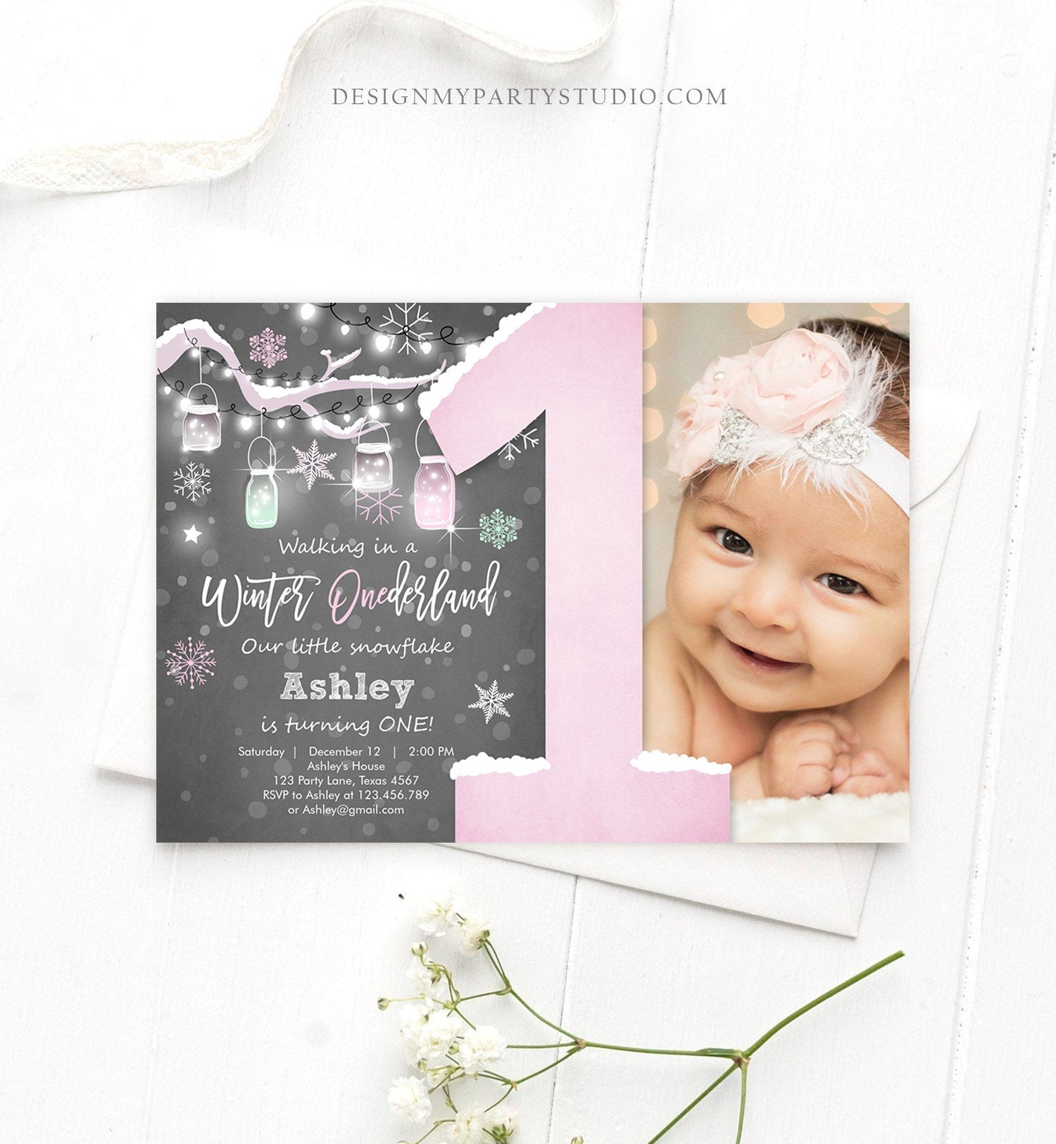 Editable Winter ONEderland Birthday Invitation First Birthday Snowflake Girl Pink Download Printable Invitation Template Corjl 0066
