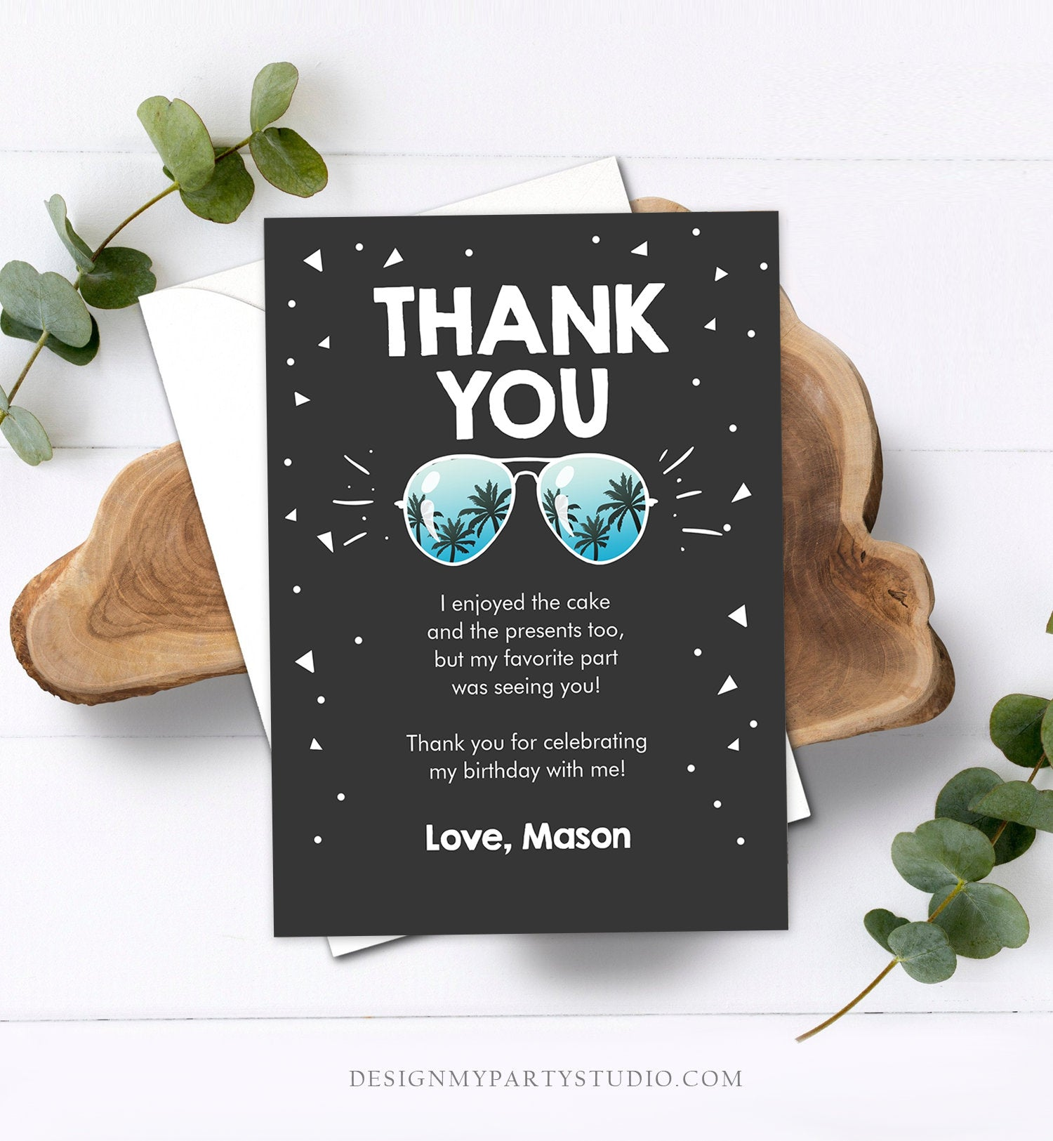 Editable Thank You Card Two Cool Birthday Boy Sunglasses Palm Second Birthday Party Note 2nd Chalk Download Corjl Template Printable 0136