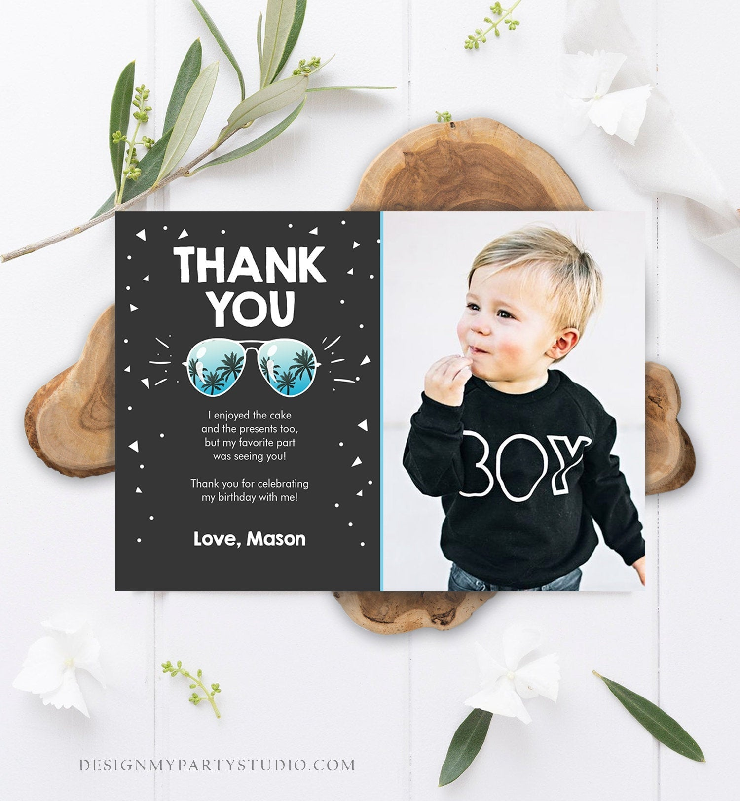 Editable Thank You Card Two Cool Birthday Boy Sunglasses Palm Second Birthday Party Note 2nd Chalk Photo Corjl Template Printable 0136