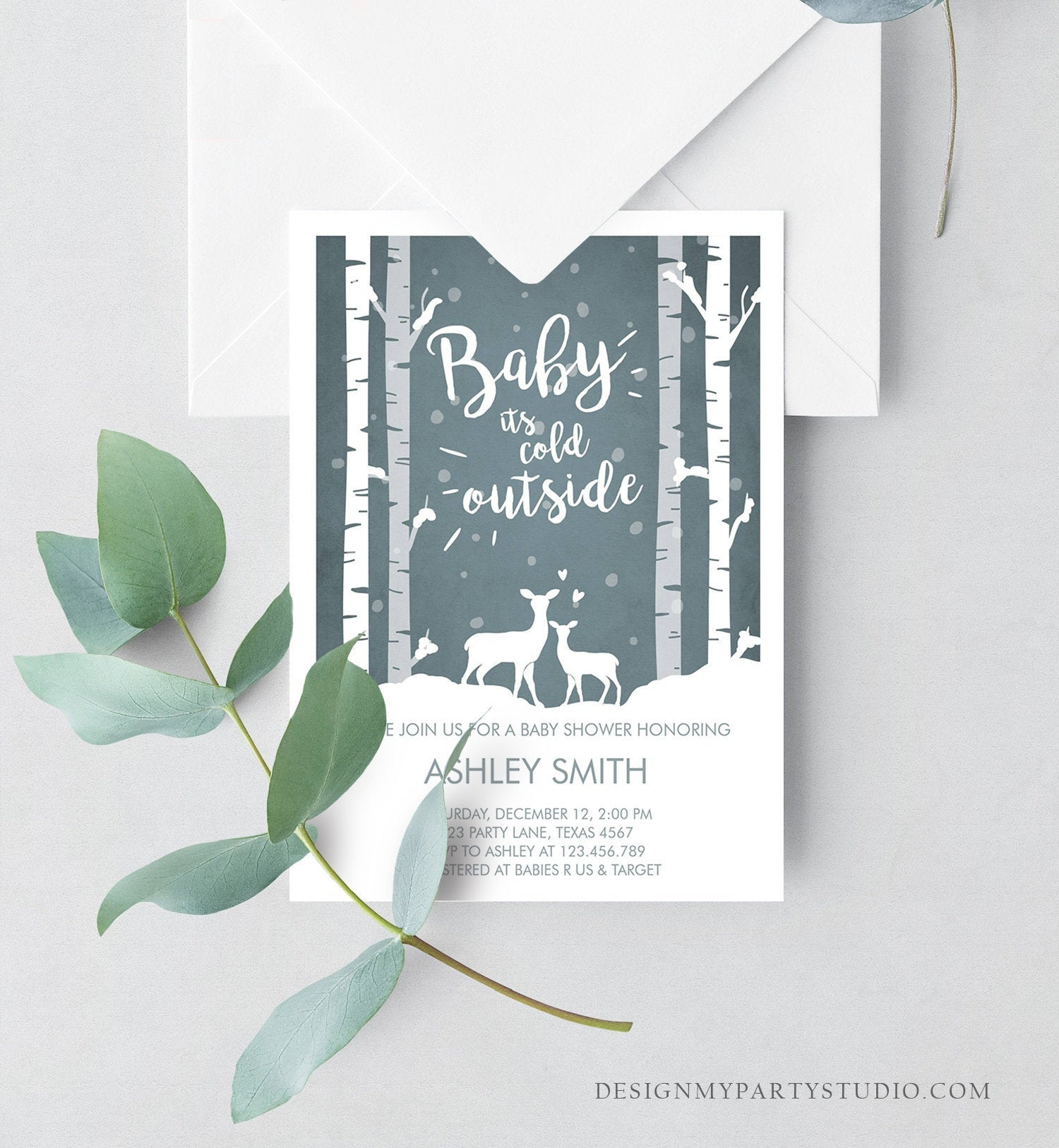 Editable Baby Its Cold Outside Baby Shower Invitation Oh Deer Boy Woodland Animals Snow Invitation Template Instant Download Corjl 0264