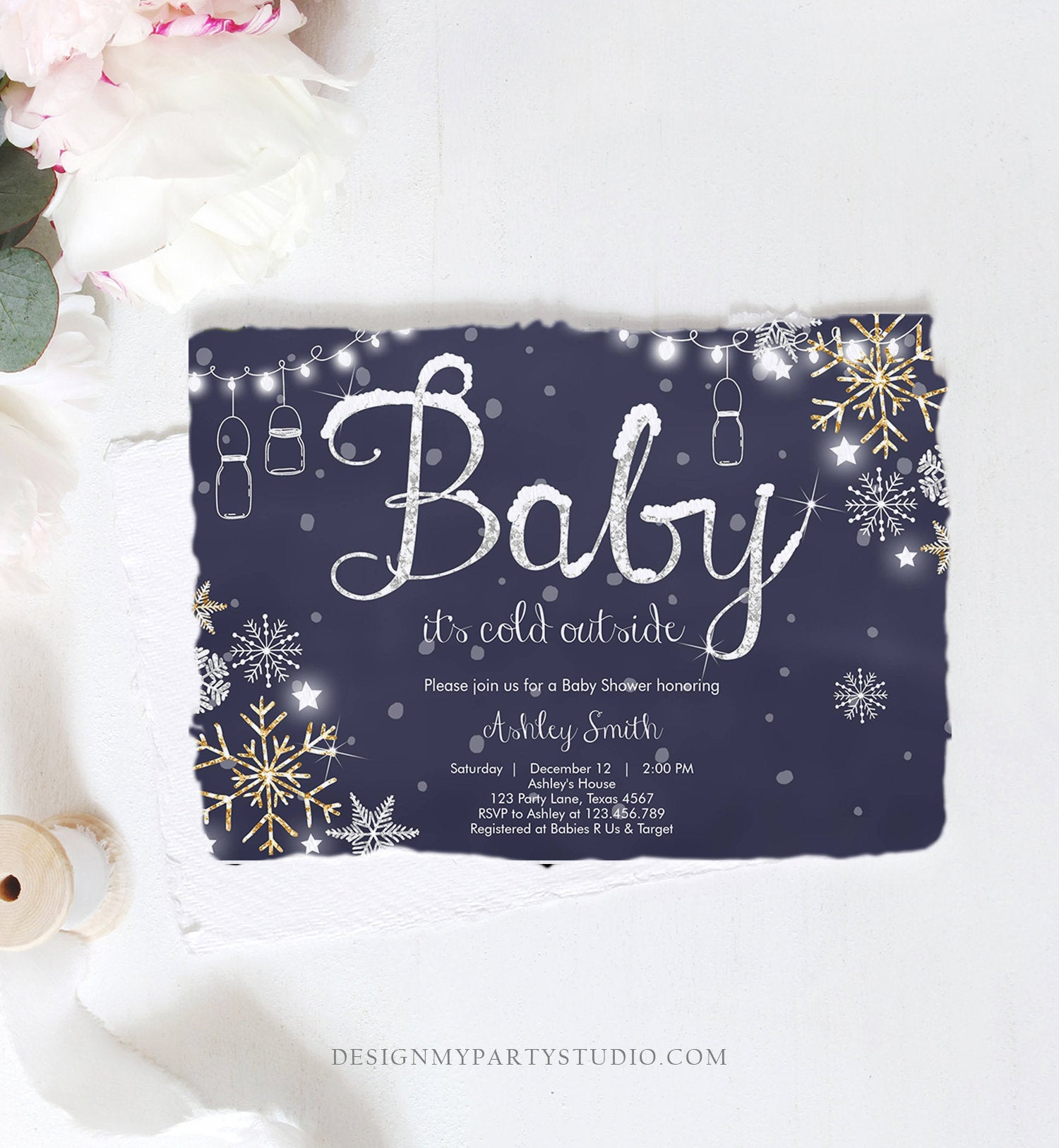 Editable Winter Baby Shower Invitation Baby Its Cold Outside Gender Neutral Silver Gold Glitter Snow Template Instant Download Corjl 0032