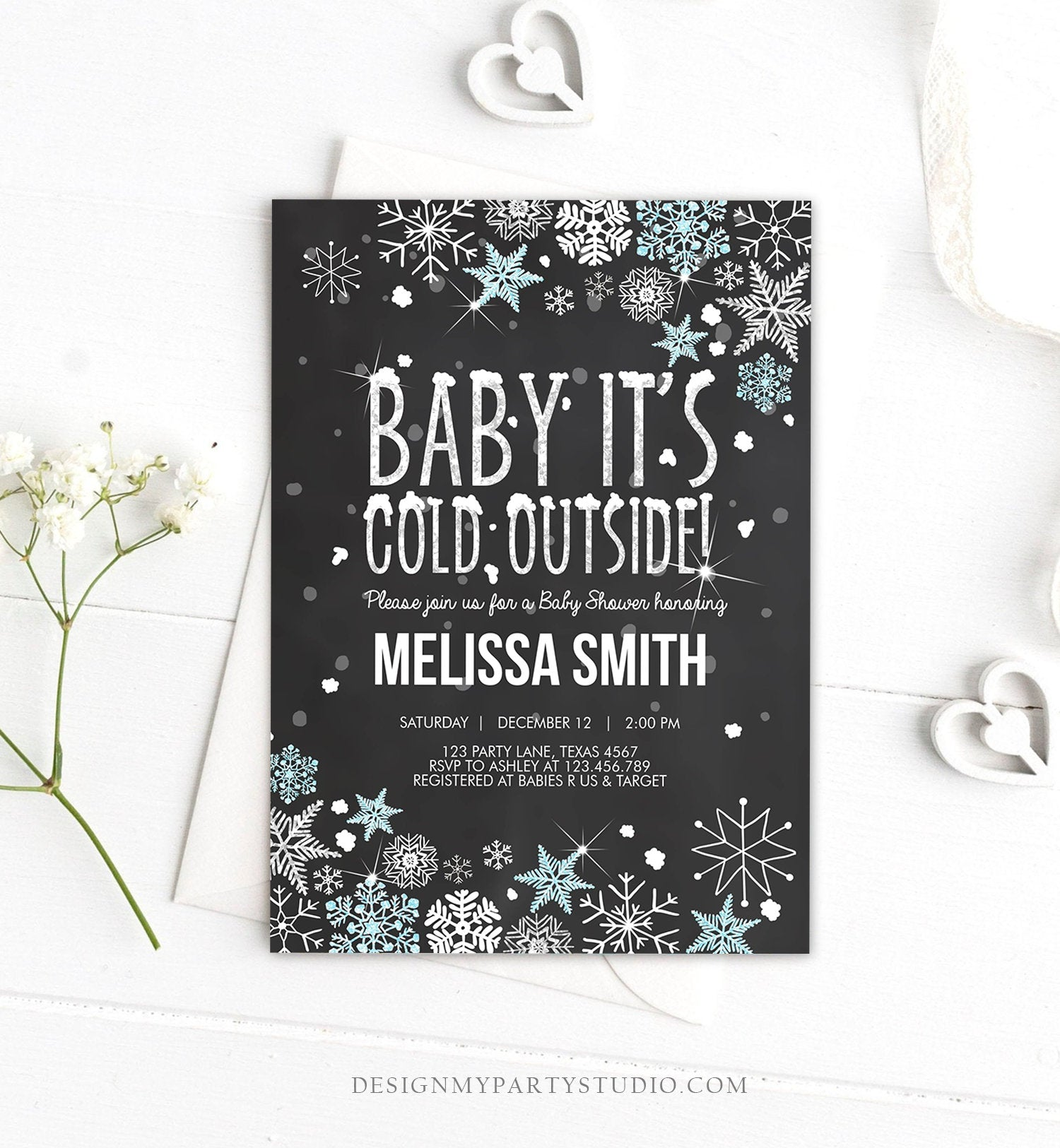 Editable Winter Baby Shower Invitation Baby Its Cold Outside Blue Silver Glitter Boy Winter Snow Template Download Digital Corjl 0033