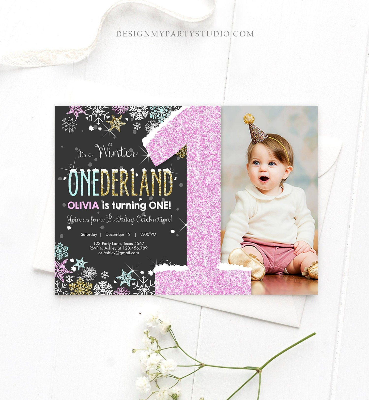 Editable Winter ONEderland Invitation Girl First Birthday Snowflake Pink Mint Gold Glitter Download Printable Invitation Template Corjl 0033