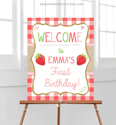 Editable Strawberry Welcome Sign Strawberry Birthday Party Welcome Farmers Market Girl Summer Red Pink Berry Template PRINTABLE Corjl 0091