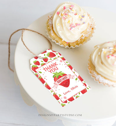 Editable Strawberry Favor Tags Strawberry Birthday Thank you tags Label Berry Much Gift tags Farmers Market Template PRINTABLE Corjl 0091