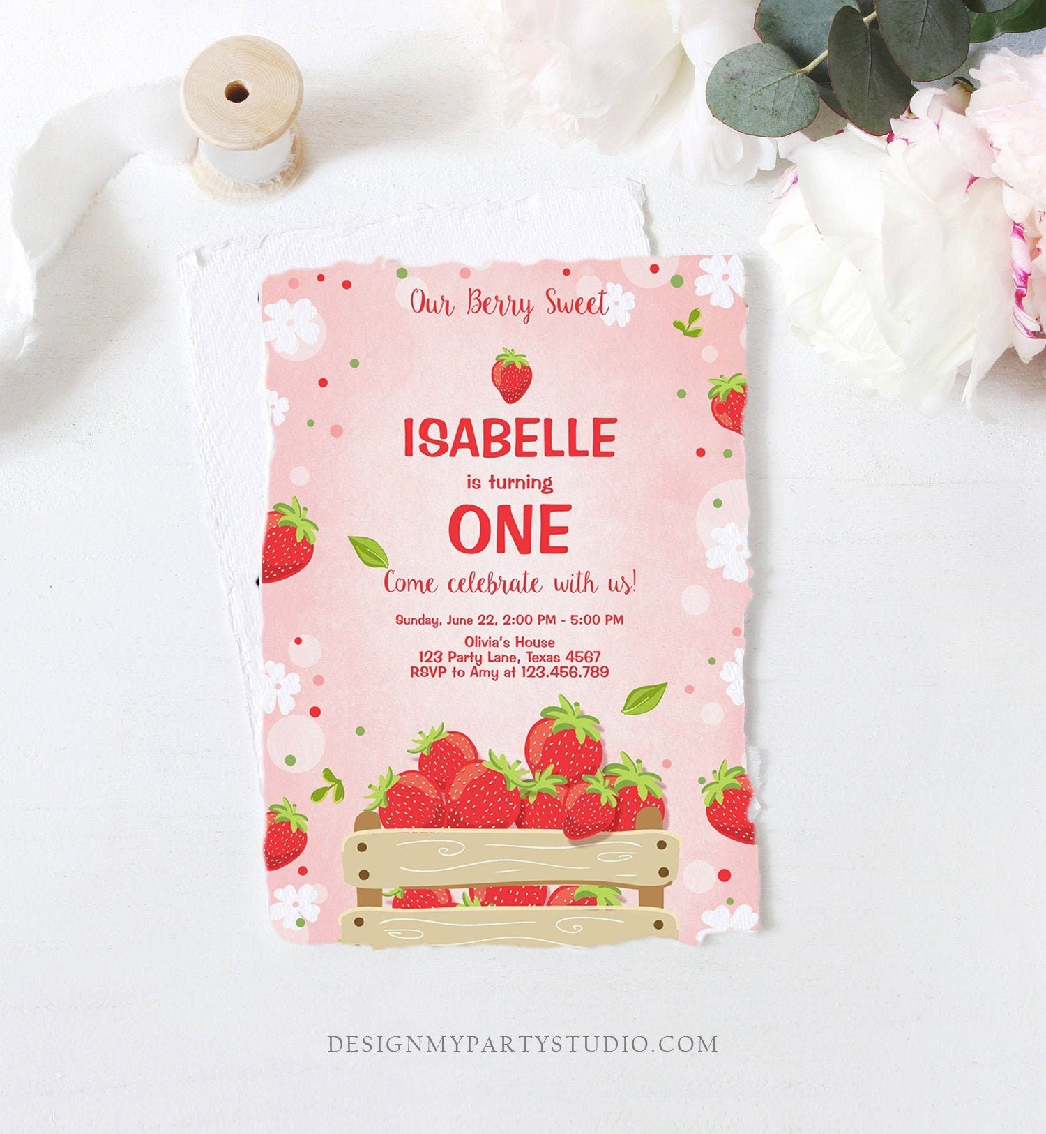 Editable Strawberry Birthday Invitation Berry Sweet Girl Farmers Market Download Printable Invitation ANY AGE Template Digital Corjl 0091