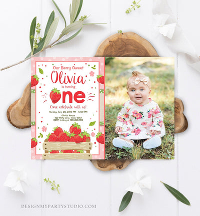 Editable Strawberry Birthday Invitation Girl First Birthday Berry Sweet Pink Download Printable Invitation Template Digital Corjl 0091