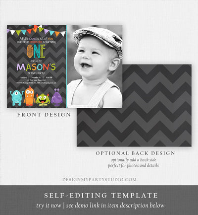 Editable Little Monster Birthday Invitation First Birthday Party Monsters Boy Confetti 1st Chalk Chevron Photo Printable Corjl Template 0058
