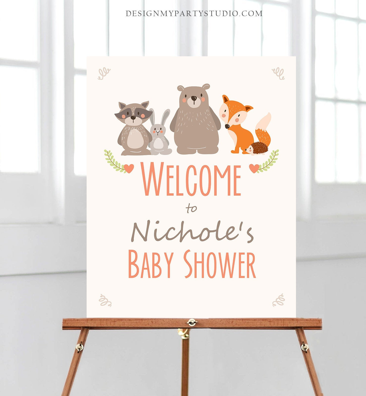 Editable Woodland Welcome Sign Woodland Baby Shower Welcome Sign Rustic Bear Fox Forest Animals Birthday Template PRINTABLE Corjl 0010