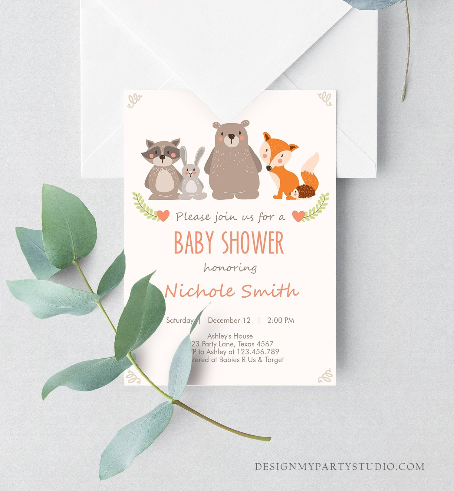 Editable Baby shower invitation Woodland Forest Animals Cute Animals Gender Neutral Bear Fox Invitation Template Download Digital Corjl 0010