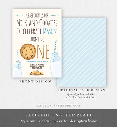 Editable Milk and Cookies Birthday Invitation Milk & Cookies Party Boy Birthday Blue First Birthday Printable Invitation Template Corjl 0088