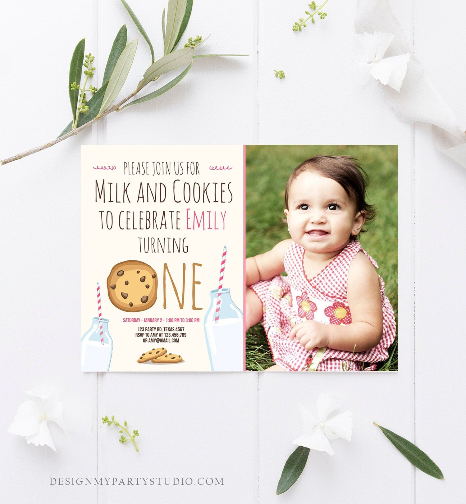 Editable Milk and Cookies Birthday Invitation Milk & Cookies Party Girl Birthday Pink First Birthday Printable Invite Template Corjl 0088