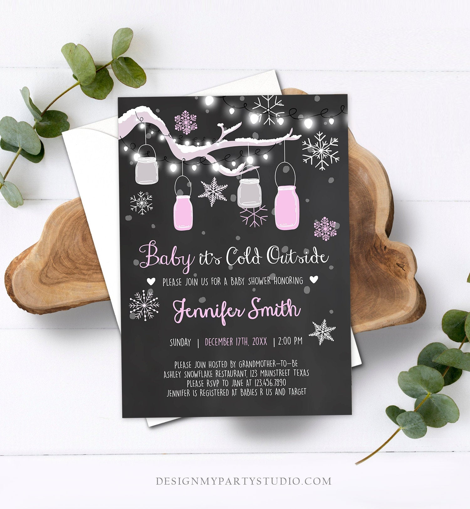 Editable Baby Its Cold Outside Baby Shower Invitation Mason Jars Pink Girl Shower Winter Snow Template Instant Download Digital Corjl 0012
