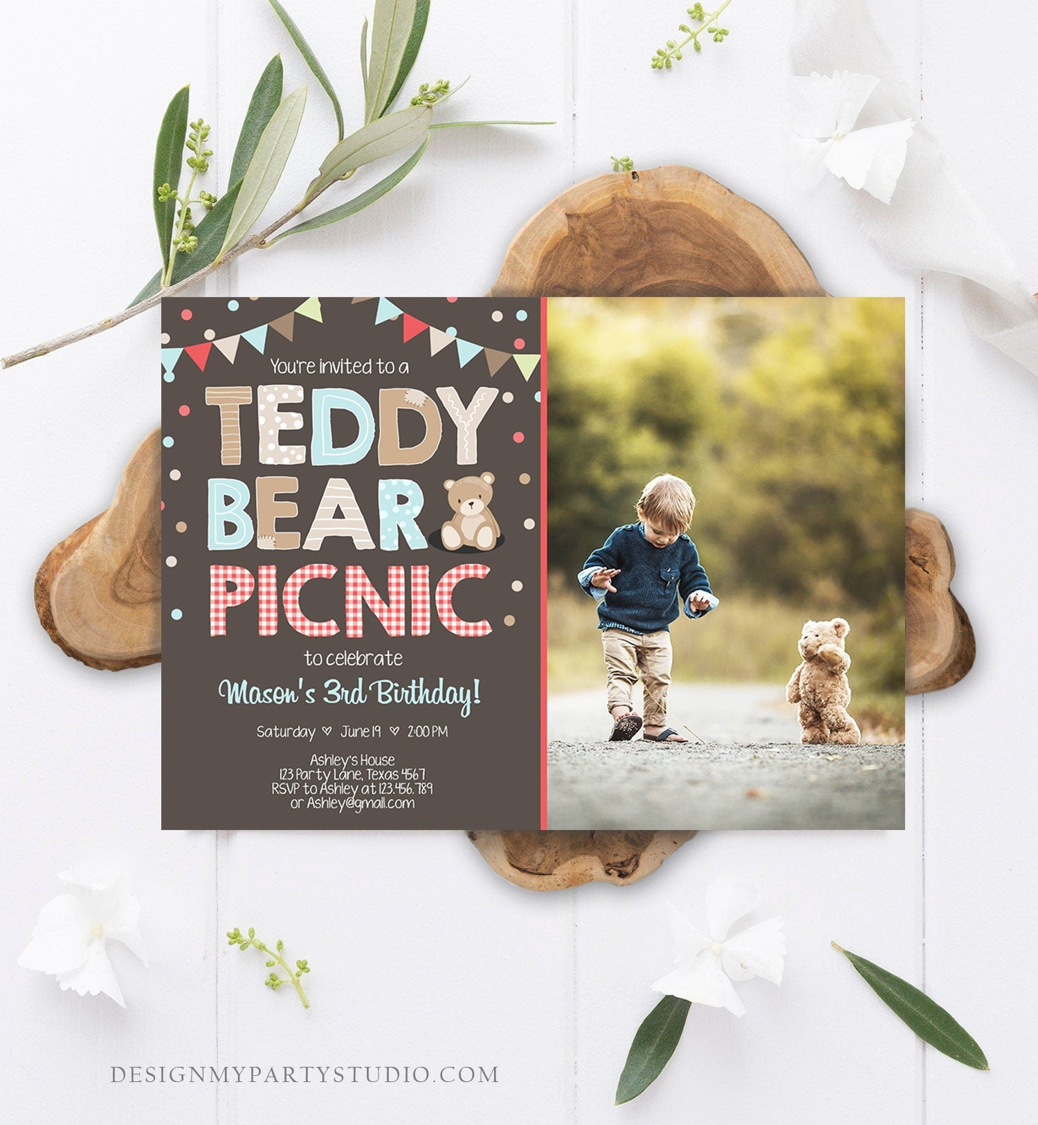 Editable Teddy Bear Picnic Birthday Invitation Boy Blue Brown Red Gingham Bear Picnic Outdoor Party Printable Digital Corjl Template 0100
