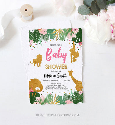 Editable Safari Animals Baby Shower Invitation Wild One Jungle Zoo Wild Animals Pink Gold Girl Corjl Template Instant Download Digital 0016