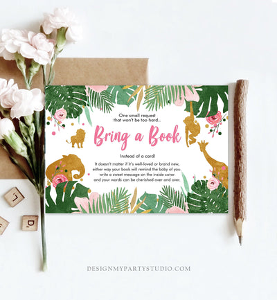Editable Safari Animals Bring a Book Card Baby Shower Books for Baby Insert Wild One Pink Gold Jungle Zoo Corjl Template Printable 0016