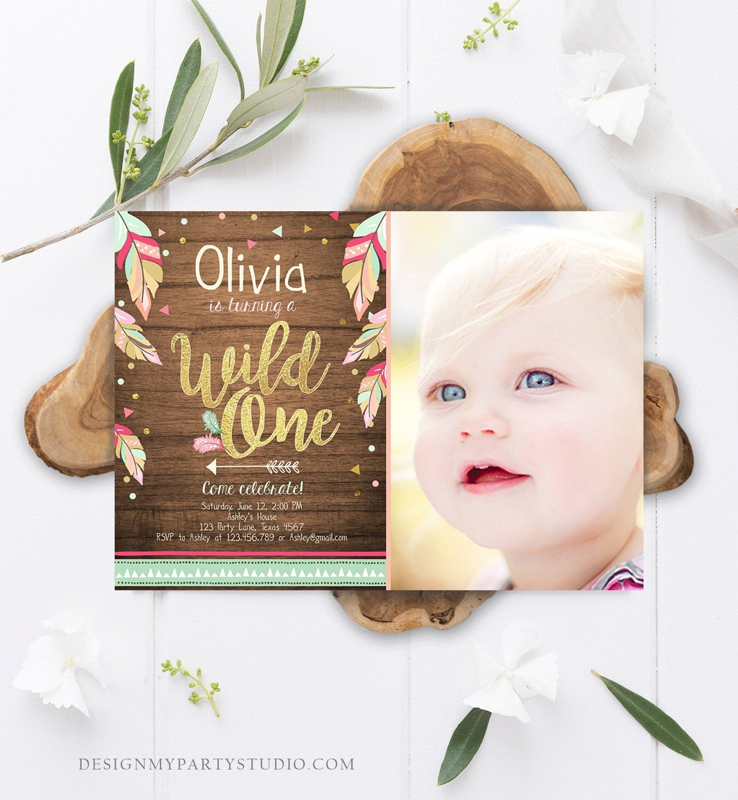Editable Wild One Invitation Tribal Feathers Girl Pink Teal Gold Wood Mint First Birthday 1st Boho Photo Corjl Template Printable 0038