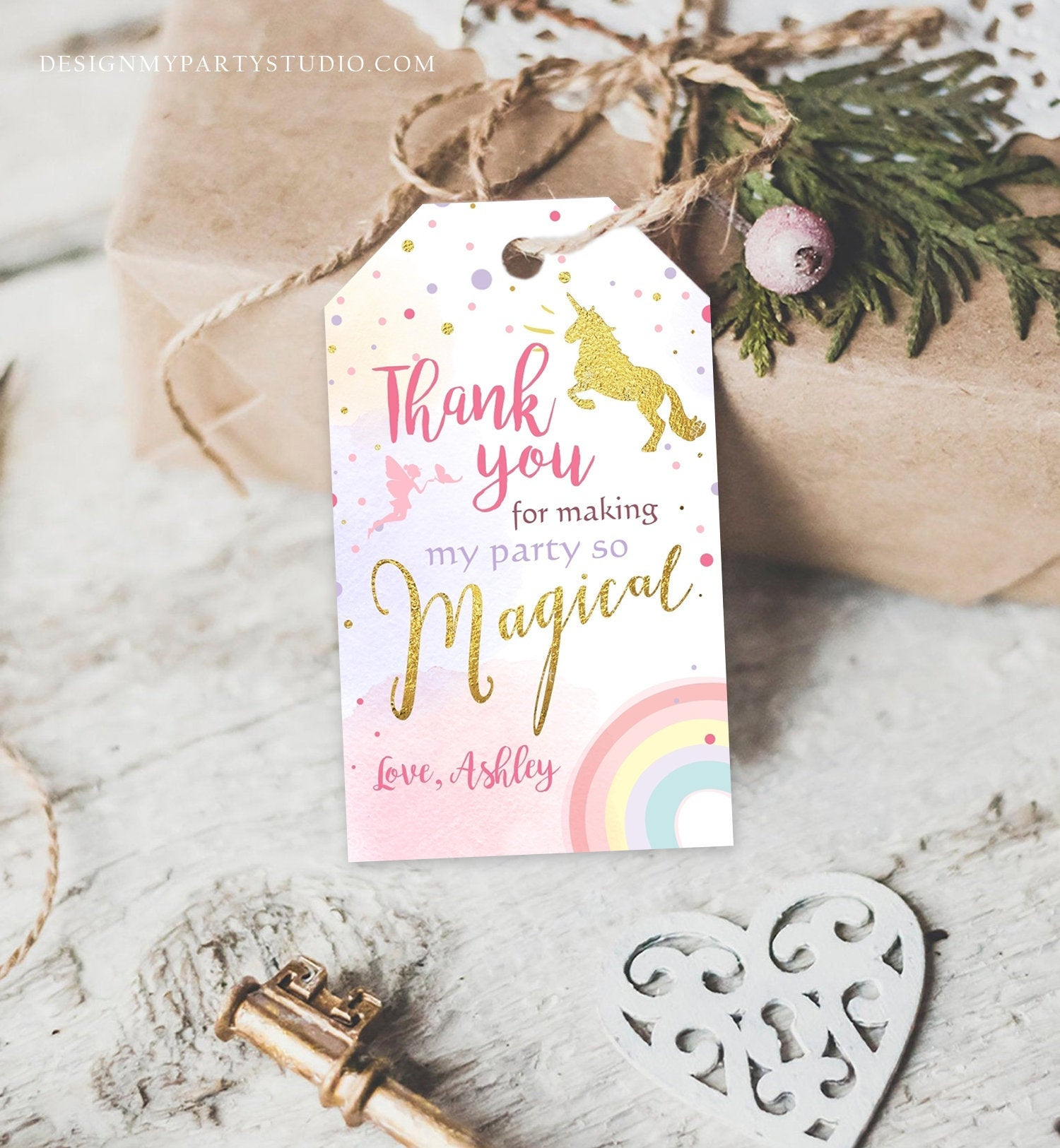 Editable Unicorn Favor Tags Magical Unicorn Birthday Thank you tags Label Rainbow Unicorn Gift tags Pink gold Template PRINTABLE Corjl 0041