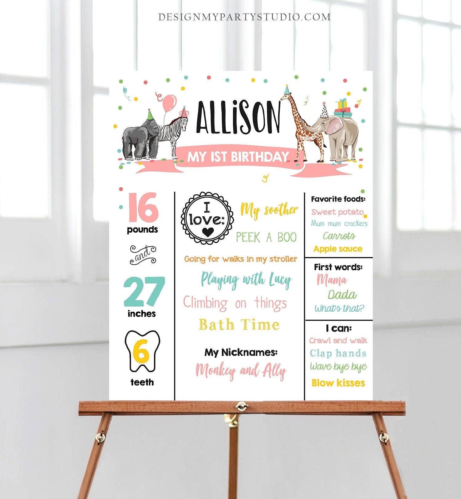 Editable Party Animals Birthday Milestones Girl Pink Sign Wild One Animals Zoo Safari First Birthday 1st Corjl Template Printable 0142