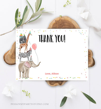 Editable Party Animals Thank You Card Note Wild One Safari Animals Girl Confetti Balloon Jungle Zoo Download Printable Corjl Template 0142
