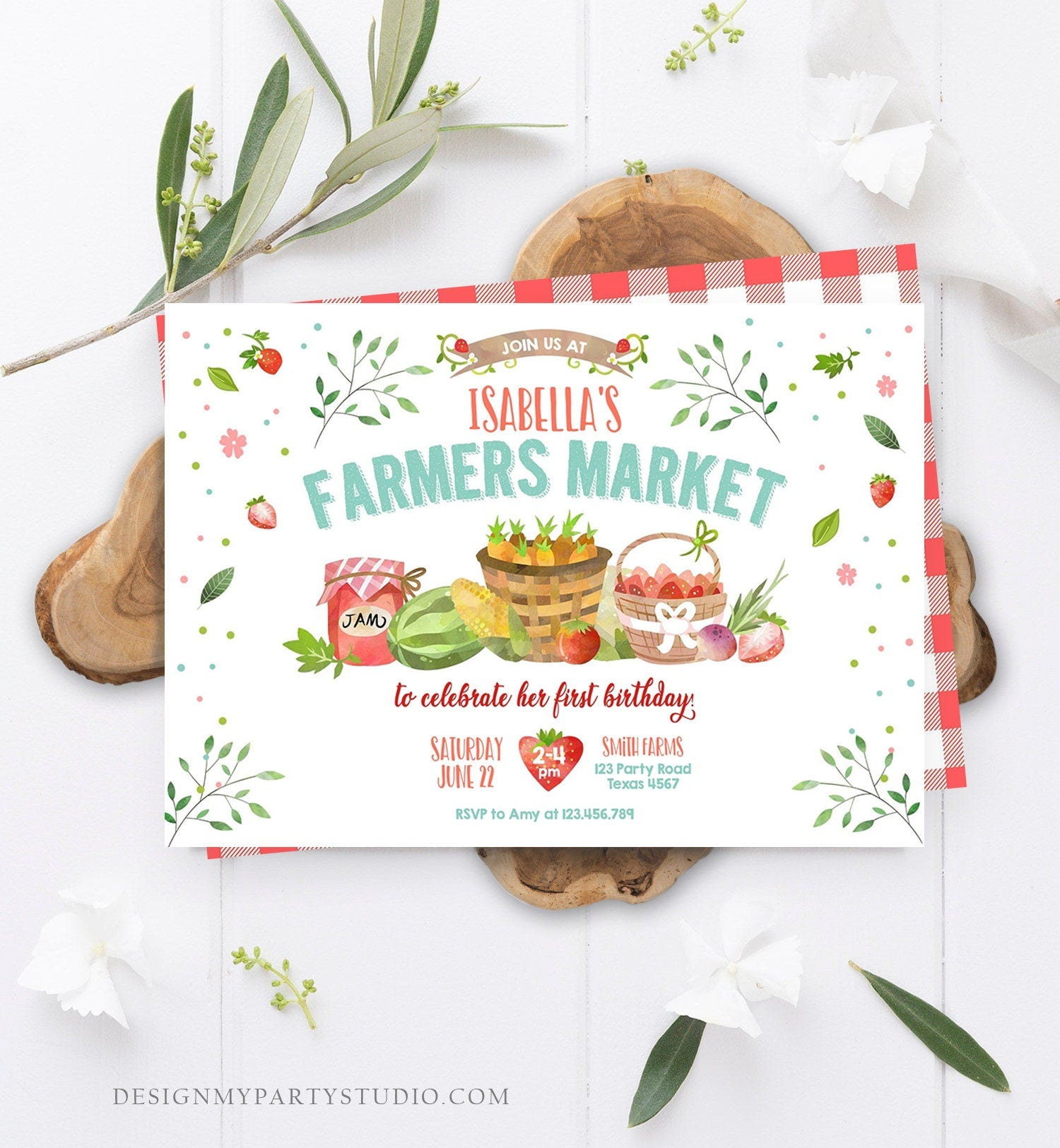 Editable Farmers Market Birthday Invitation Strawberry Farm Party Fruits Market Home Grown Download Printable Invitation Template Corjl 0144