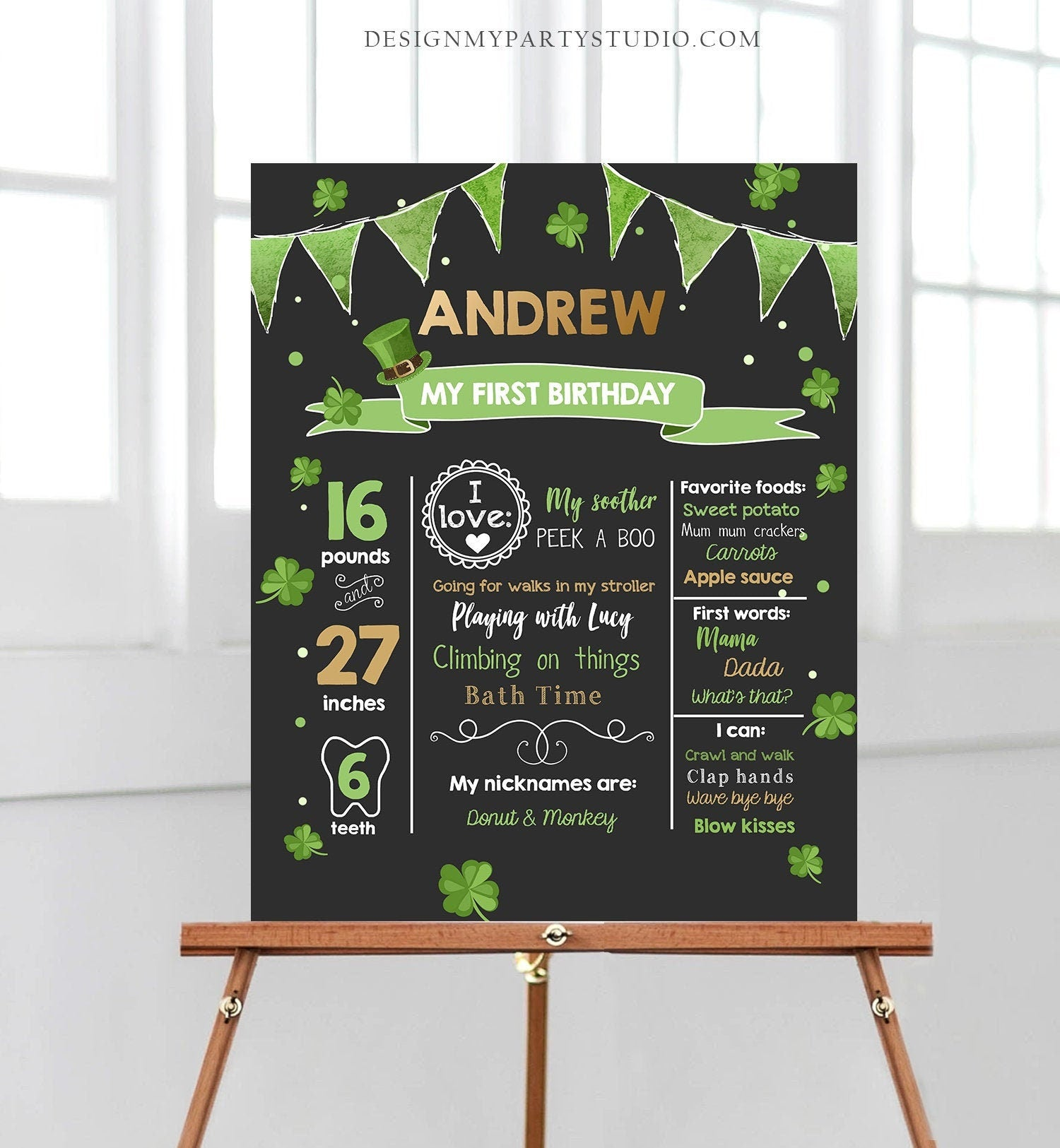Editable St Patricks Day Milestones Sign Lucky One Birthday Shamrock 1st Birthday Gold Green Clover Chalkboard Template Printable Corjl 0115