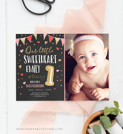Editable Little Sweetheart Birthday Invitation Valentine Girl Hearts Pink Gold First Birthday 1st Download Corjl Template Printable 0290
