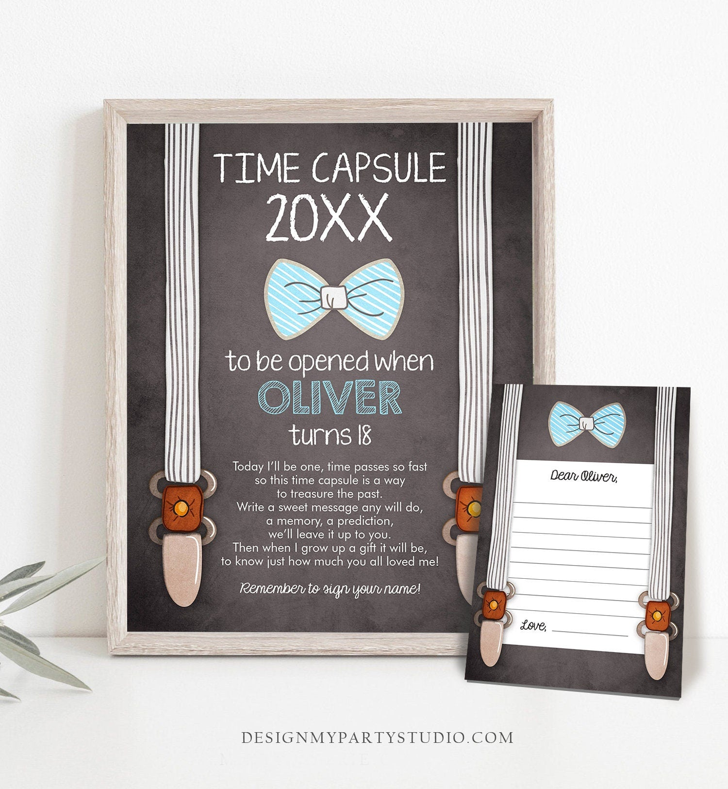 Editable Time Capsule Boy 1st Birthday Little Man First Birthday Party Bow Tie Blue Guestbook Suspenders Template Printable Corjl 0063