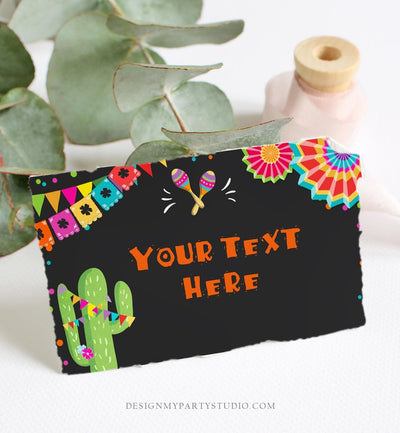 Editable Fiesta Cactus Food Labels Fiesta Party Place Card Tent Card Birthday Baby Shower Mexican Fiesta Confetti Decor Corjl Template 0045