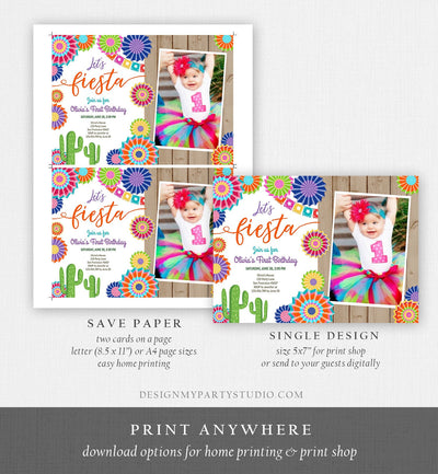 Editable Let's Fiesta Birthday Invitation ANY AGE Girl First Birthday Uno Cactus Cinco Mayo Mexican Photo Corjl Template Printable 0236