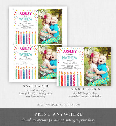 Editable Joint Twin Birthday Invitation Twins Confetti Siblings Birthday Party Boy Girl Download Printable Template Digital Corjl 0277