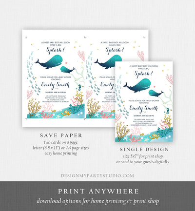 Editable Baby Shower Invitation Nautical Whale Baby Shower Invite Its a Boy Ocean Ahoy Watercolor Download Printable Template Corjl 0118