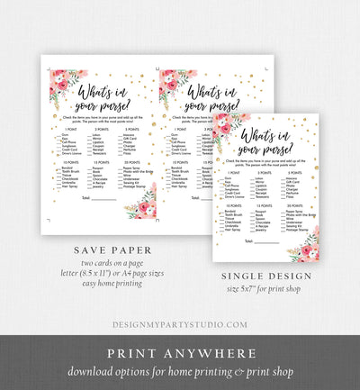 Editable What's in Your Purse Bridal Shower Game Wedding Shower Activity Pink Floral Gold Confetti Flowers Corjl Printable 0030 0318