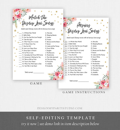 Editable Disney Love Quotes Bridal Shower Game Match Disney Love Songs Wedding Shower Activity Bachelorette Corjl Printable 0030 0318